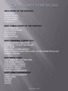 CATEGORY FOR MUSIC